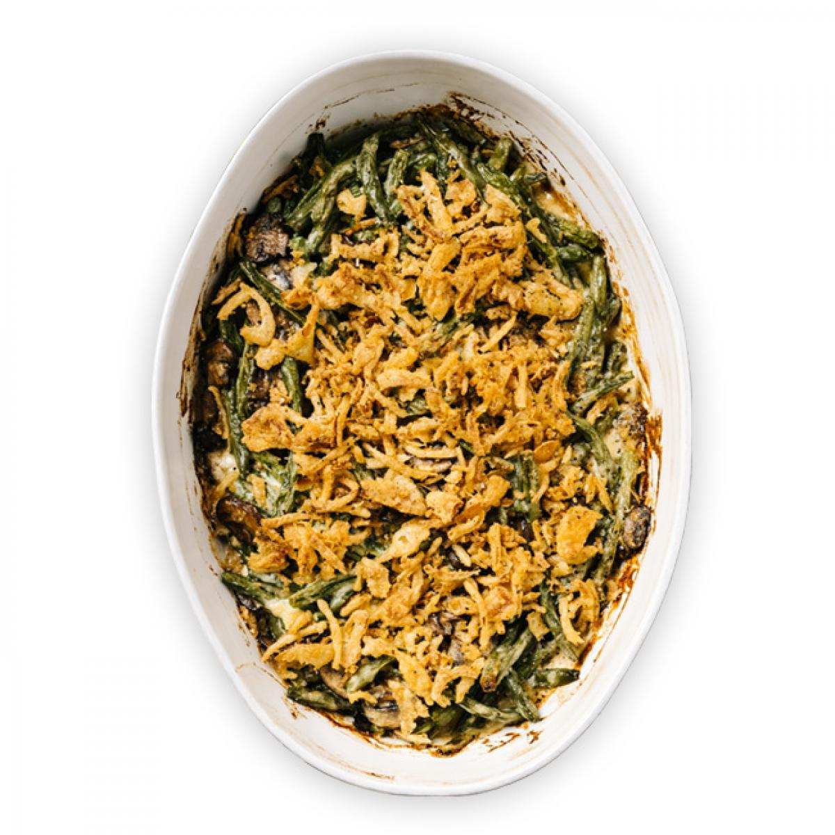 Fired Up Green Bean Casserole plate detail